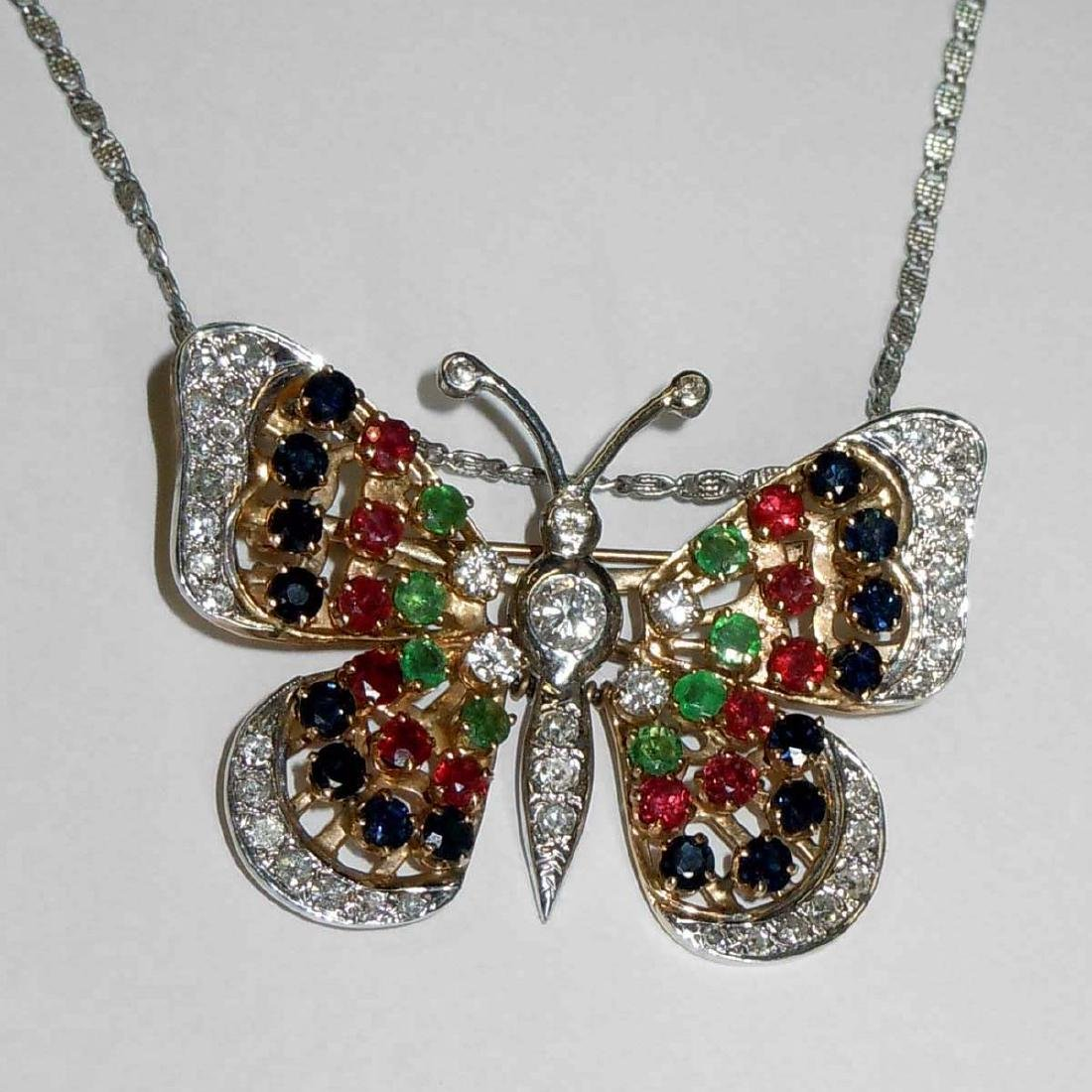 14KT DIAMOND RUBY EMERALD SAPPHIRE BUTTERFLY NECKLACE