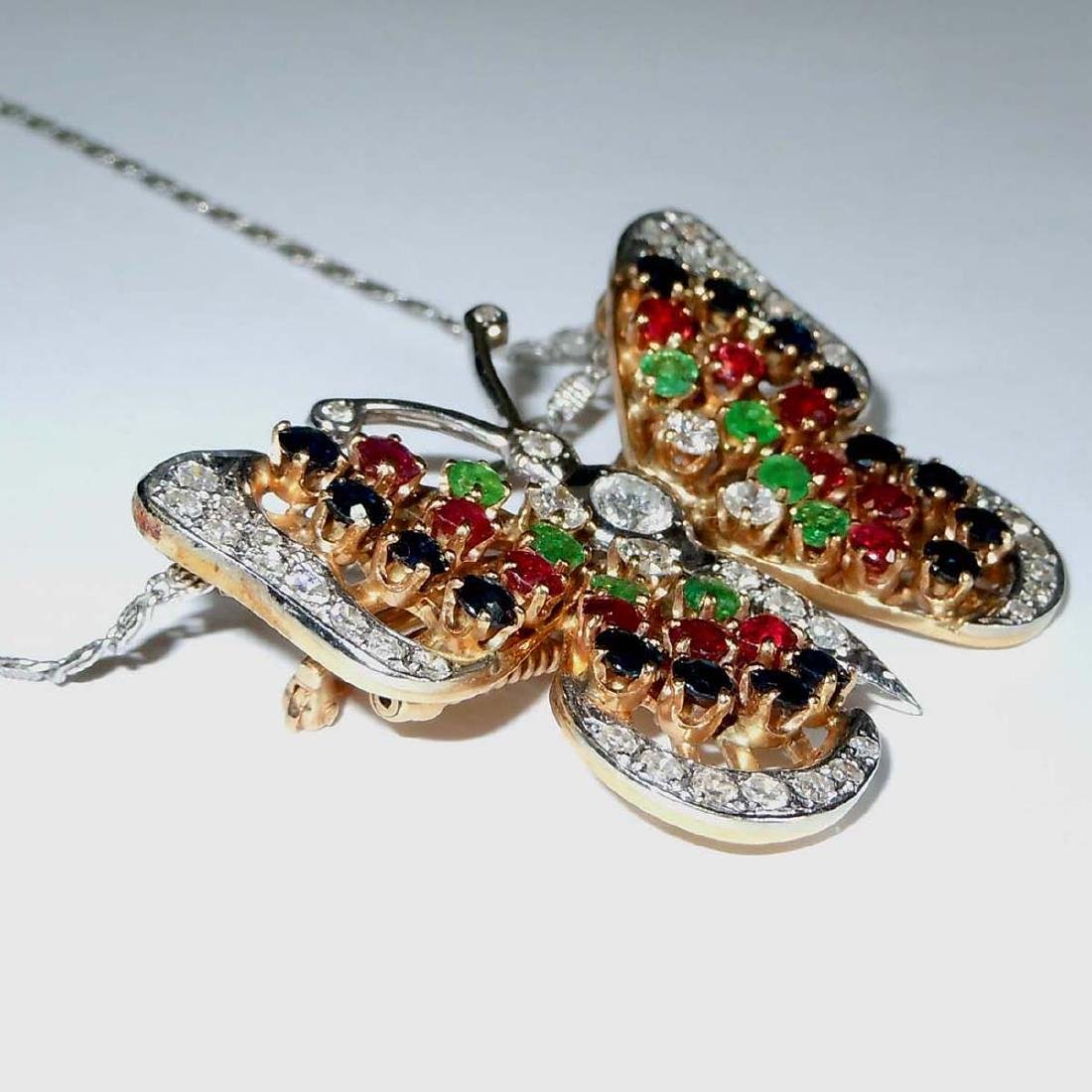 14KT DIAMOND RUBY EMERALD SAPPHIRE BUTTERFLY NECKLACE - 2