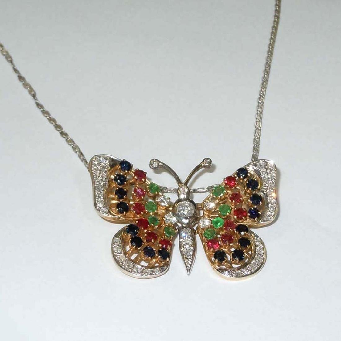 14KT DIAMOND RUBY EMERALD SAPPHIRE BUTTERFLY NECKLACE - 3