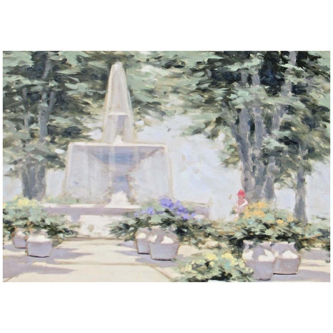 ANDRE GISSON OIL PAINTING WOMAN AND FLOWER FOUNTAIN - 3
