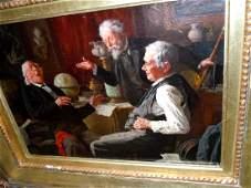 LOUIS HENRY CHARLES MOELLER OIL PAINTING A GOOD LAUGH