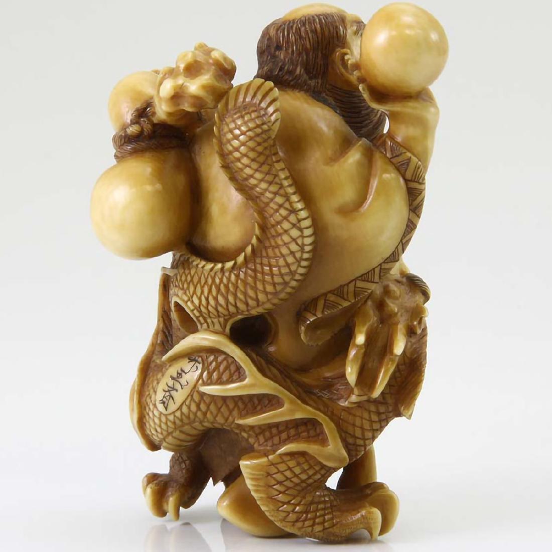 JAPANESE SAGE DRAGON HAND CARVED NETSUKE MEIJI PERIOD - 3