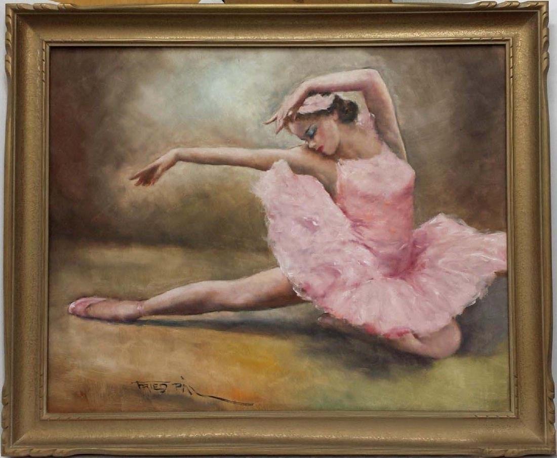 PAL FRIED YOUNG GIRL PINK BALLERINA GIRL OIL PAINTING