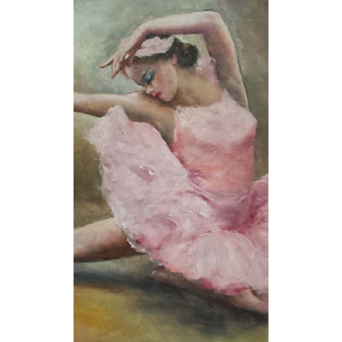 PAL FRIED YOUNG GIRL PINK BALLERINA GIRL OIL PAINTING - 3