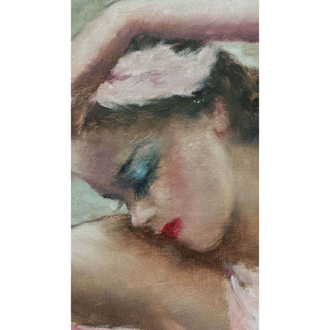 PAL FRIED YOUNG GIRL PINK BALLERINA GIRL OIL PAINTING - 5