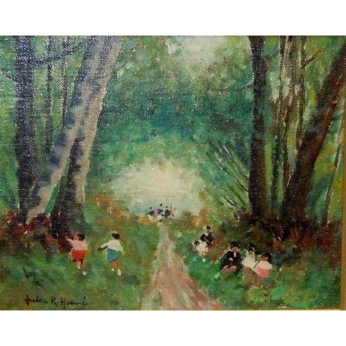 JULES RENE HERVE CHILDREN PLAYING IN WOODS OIL - 2