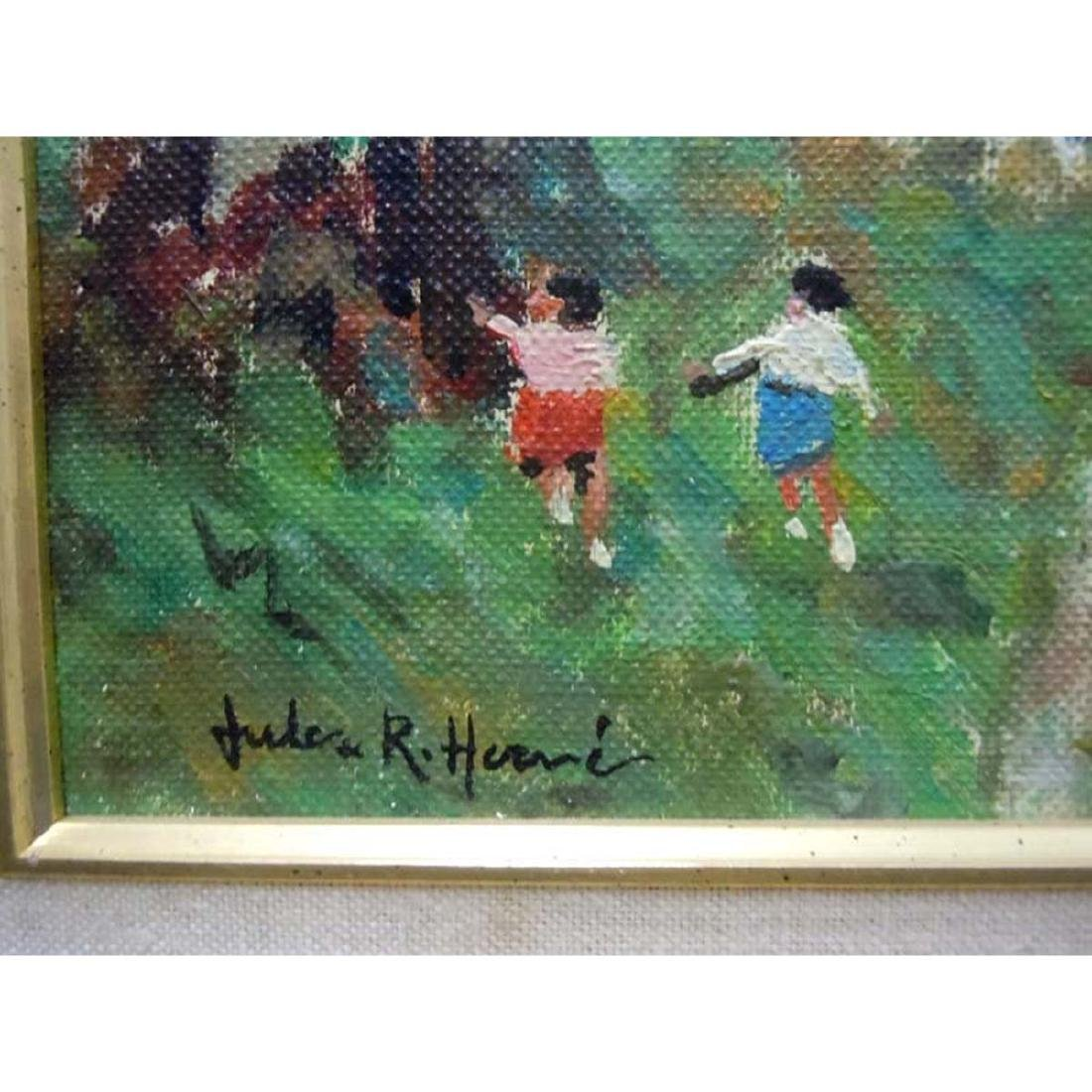 JULES RENE HERVE CHILDREN PLAYING IN WOODS OIL - 3