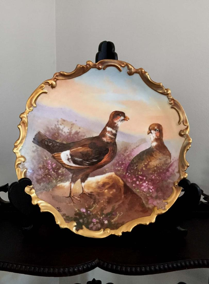 HAND PAINTED LRL LIMOGES FRANCE WILD PHEASANT CHARGER