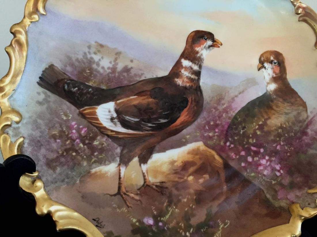 HAND PAINTED LRL LIMOGES FRANCE WILD PHEASANT CHARGER - 2