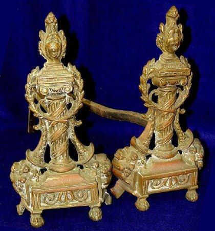 3: 19th Century French Empire Bronze Andirons