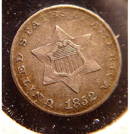 5: 3 Cent Silver 1852 American US Coin