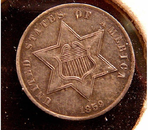 6: 3 Cent Silver 1859 American US Coin