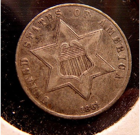 7: 3 Cent Silver 1861 American US Coin