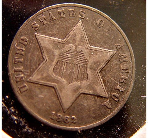 8: 3 Cent Silver 1862 American US Coin