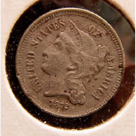 9: 3 Cent Silver 1872 American US Coin