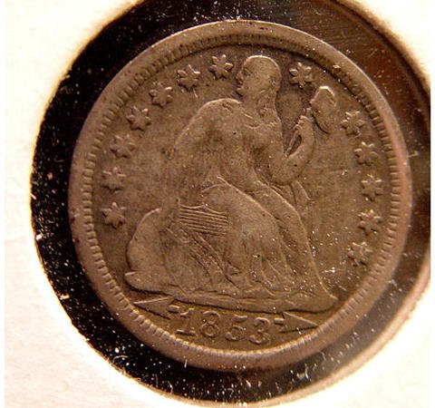 10: 10 Cent Silver 1853 Seated Liberty Dime US Coin