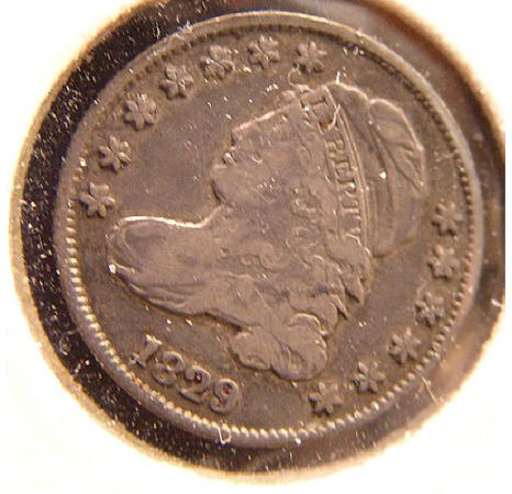 11: 10 Cent Silver 1829 CAPPED BUST DIME US Coin
