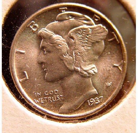 12: 10 Cent Silver 1937 Mercury Dime US Coin