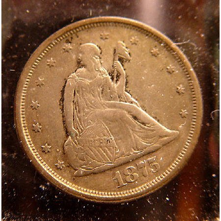 13: 20 Cent Silver 1875-S Seated Liberty US COIN