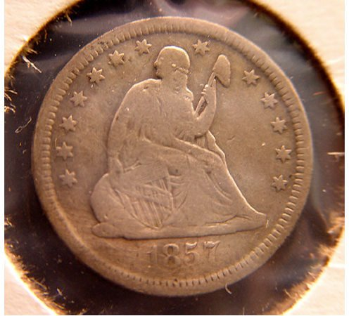 14: 25 Cent Silver Quarter Dollar 1857 Seated Liberty