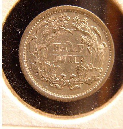 15: 1870 Seated Liberty SILVER HALF DIME US   - 2