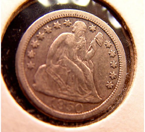17: 10 Cent Silver 1850-0 American Coin