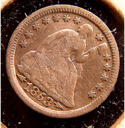 19: 1853 Seated Liberty Half Dime 5 Cents US