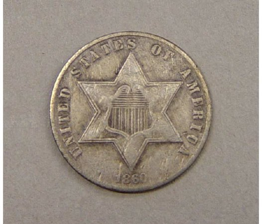 21: 3 Cent Silver 1860 American US Coin