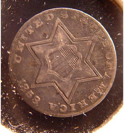 22: 3 Cent Silver 1858 American US Coin