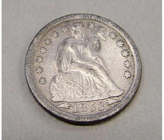 24: 1853 Seated Liberty Arrows Dime 10 Cents US Coin