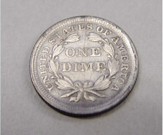 24: 1853 Seated Liberty Arrows Dime 10 Cents US Coin    - 2