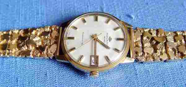 150C: 14k Gold Movado Gold Nugget Men's Wristwatch