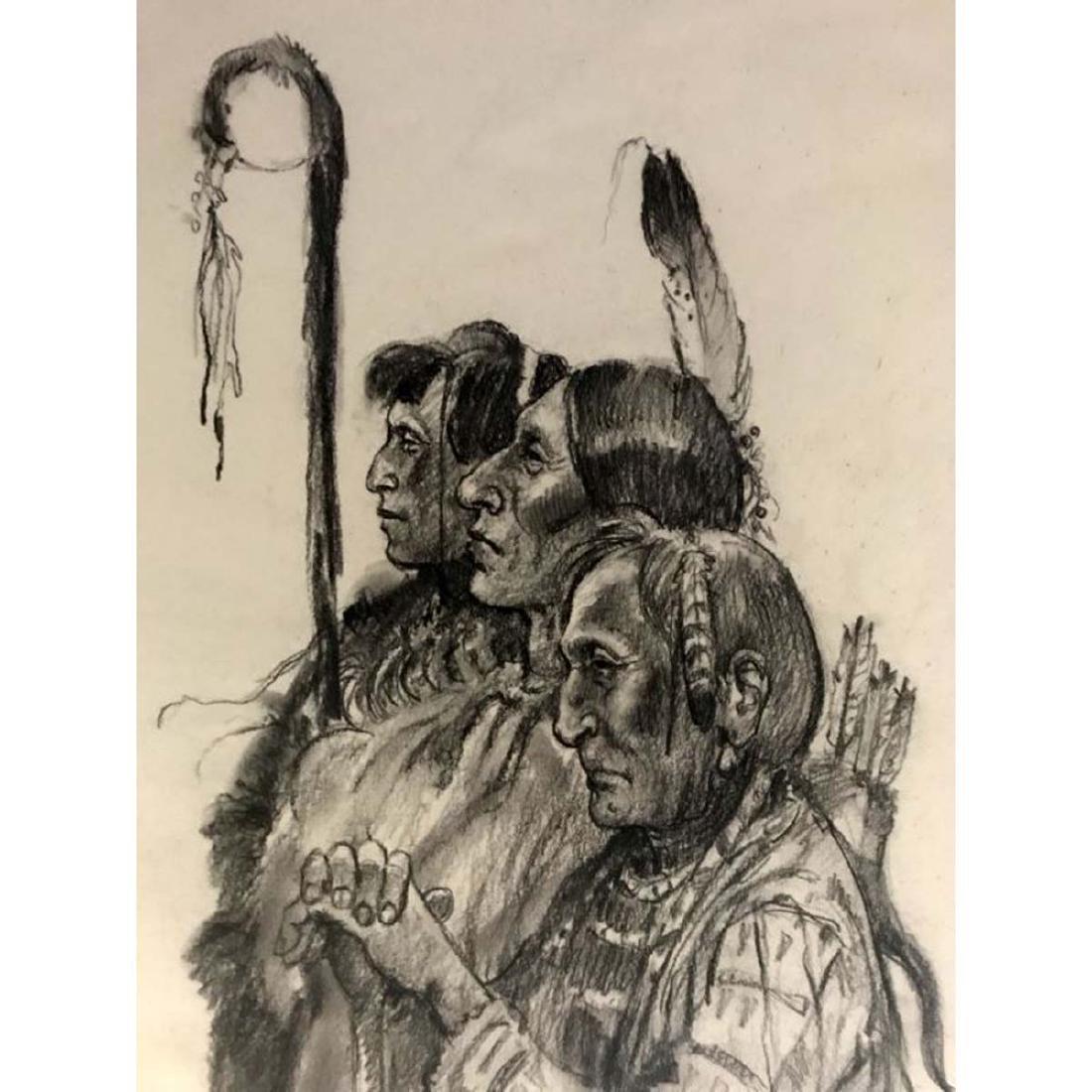JOE NEIL BEELER PROUD INDIANS STANDING GROUND CHARCOAL - 3