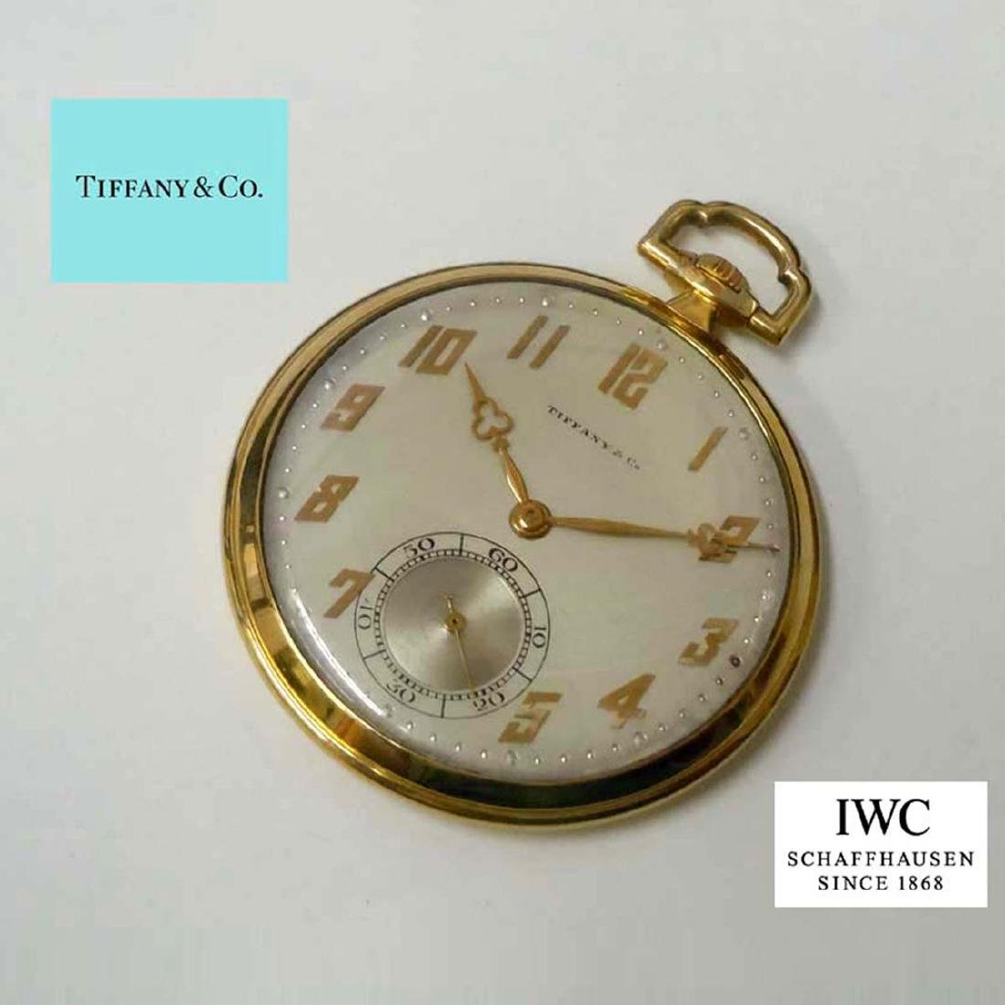 ART DECO 14KT GOLD IWC FOR TIFFANY & Co. POCKET WATCH ; - 2