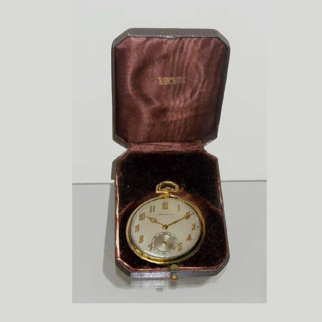 ART DECO 14KT GOLD IWC FOR TIFFANY & Co. POCKET WATCH ; - 7
