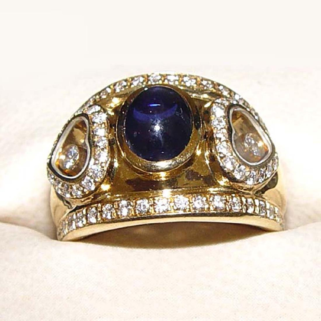 18KT GOLD CHOPARD HAPPY FLOATING DIAMOND SAPPHIRE RING
