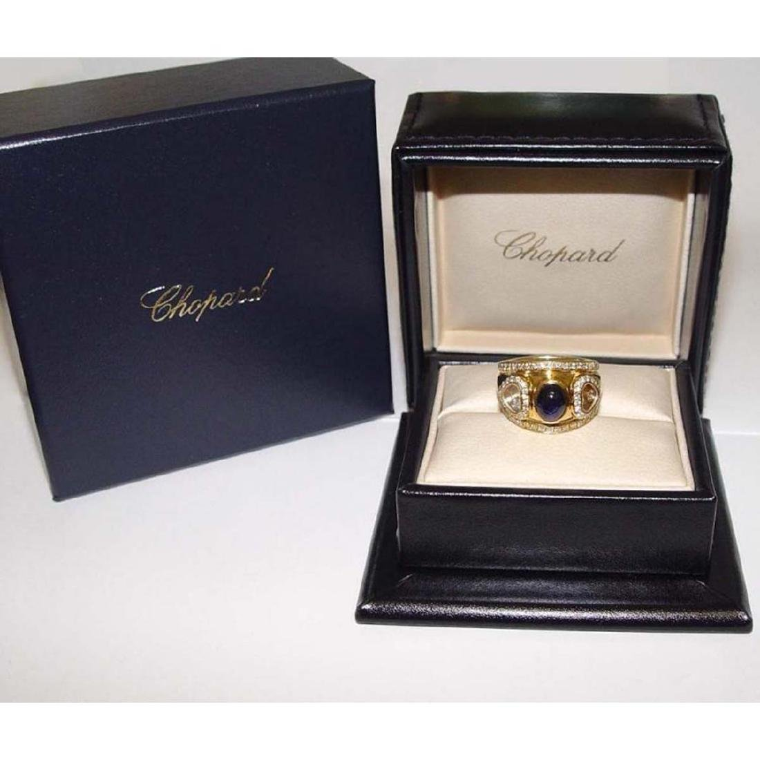 18KT GOLD CHOPARD HAPPY FLOATING DIAMOND SAPPHIRE RING - 2