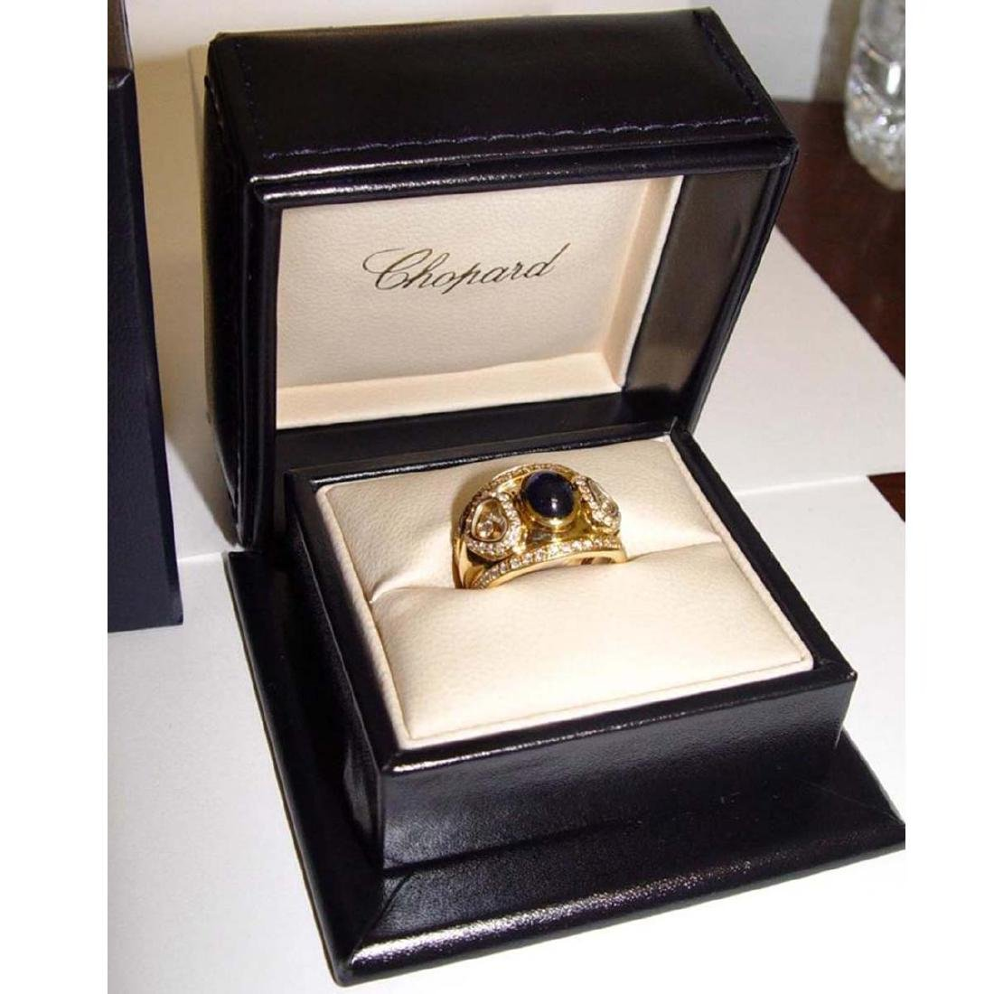 18KT GOLD CHOPARD HAPPY FLOATING DIAMOND SAPPHIRE RING - 3