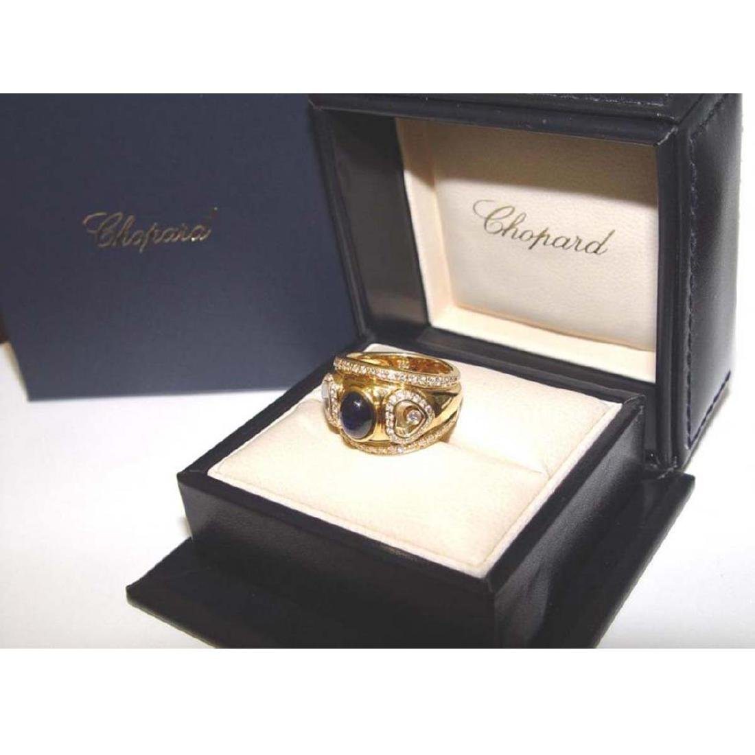 18KT GOLD CHOPARD HAPPY FLOATING DIAMOND SAPPHIRE RING - 4