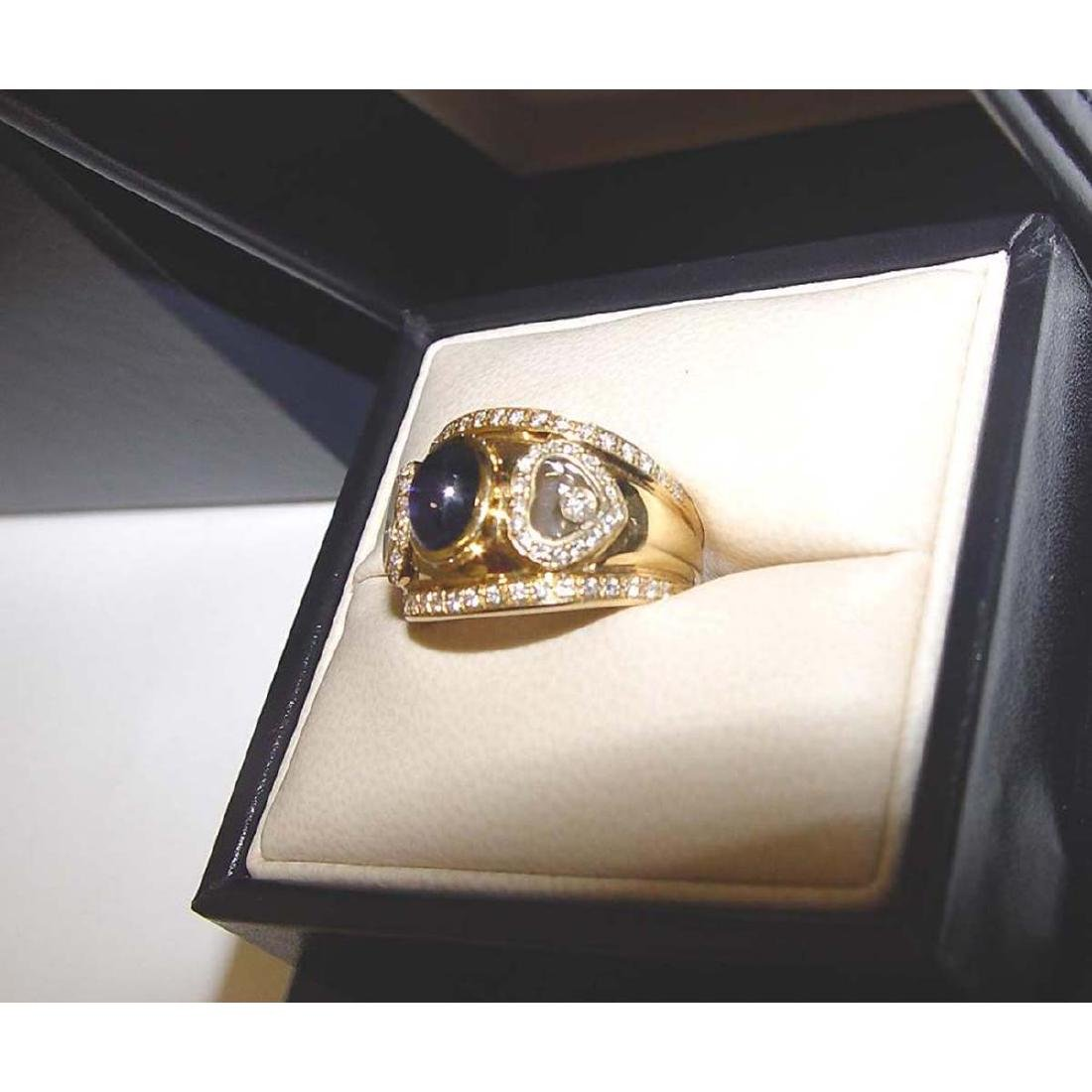 18KT GOLD CHOPARD HAPPY FLOATING DIAMOND SAPPHIRE RING - 5