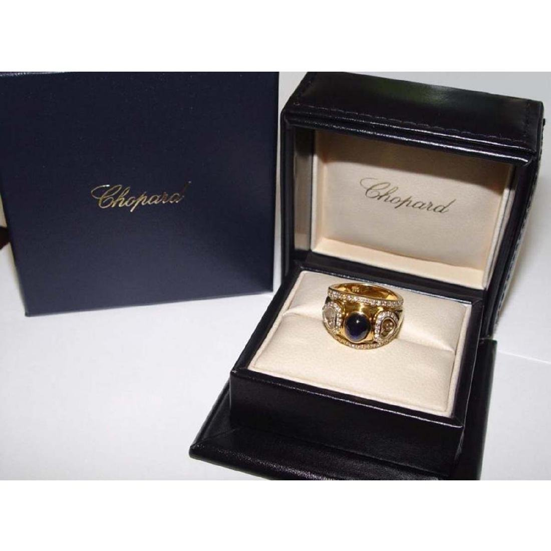 18KT GOLD CHOPARD HAPPY FLOATING DIAMOND SAPPHIRE RING - 7