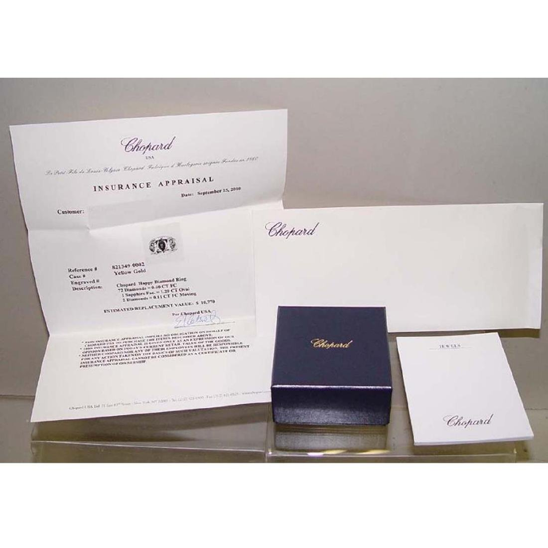 18KT GOLD CHOPARD HAPPY FLOATING DIAMOND SAPPHIRE RING - 8