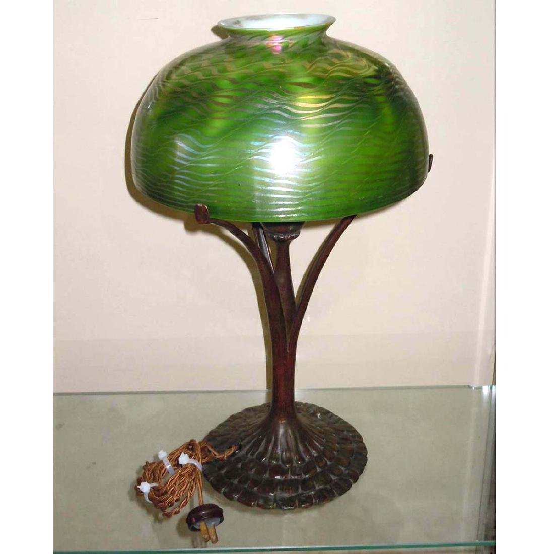 TIFFANY STUDIOS NEW YORK FAVRILE GLASS DAMASCENE LAMP,