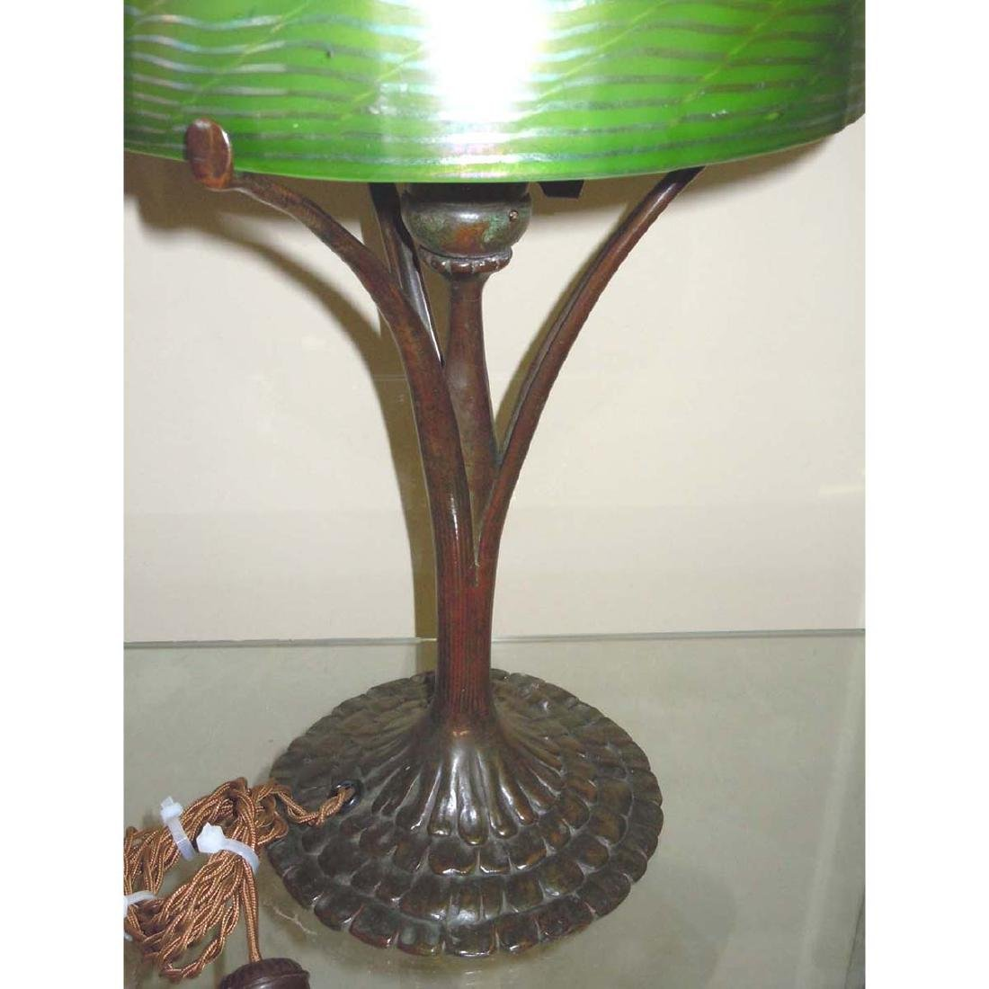 TIFFANY STUDIOS NEW YORK FAVRILE GLASS DAMASCENE LAMP, - 3
