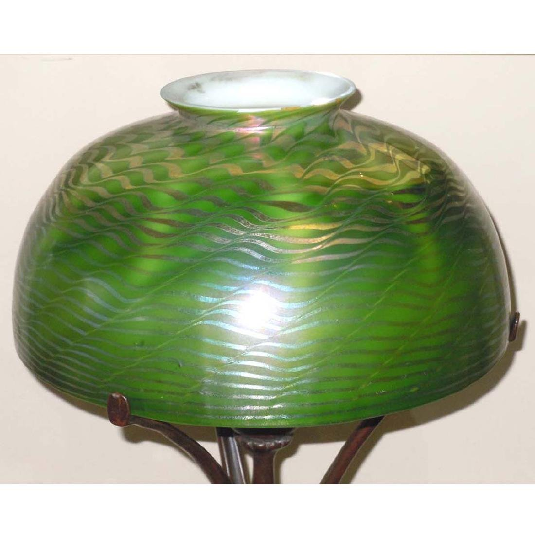 TIFFANY STUDIOS NEW YORK FAVRILE GLASS DAMASCENE LAMP, - 4