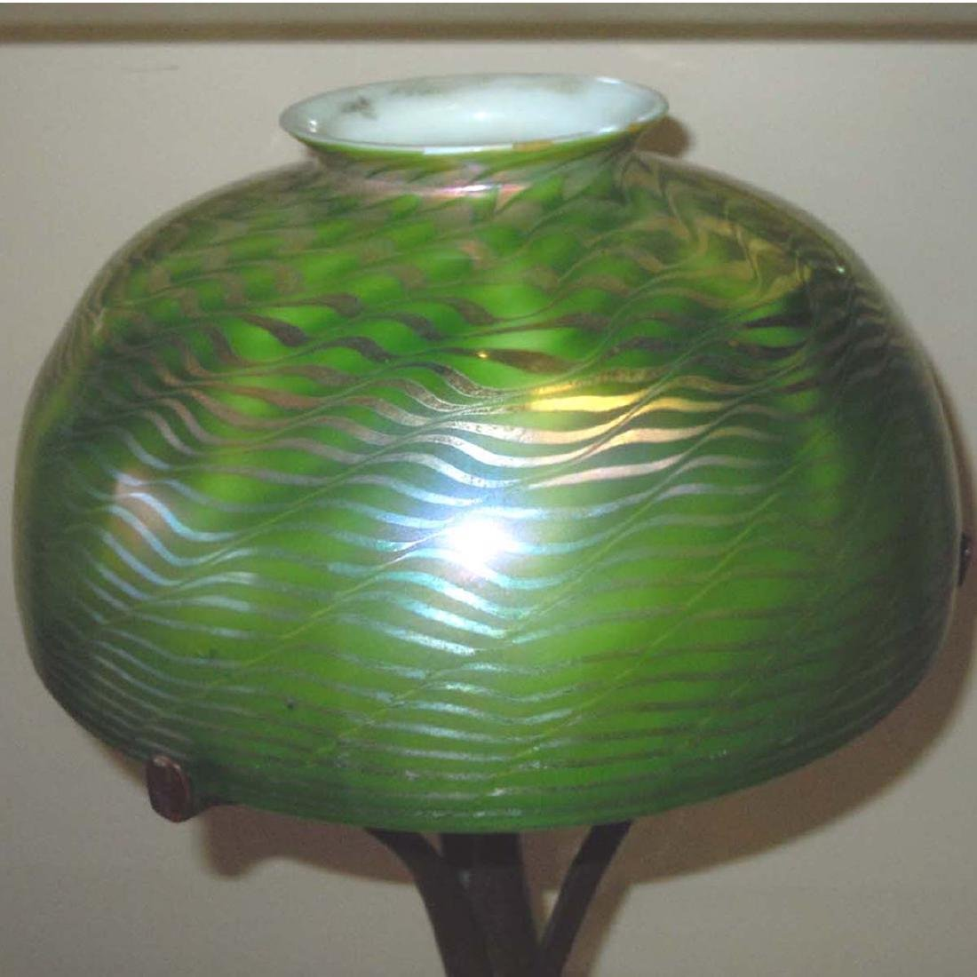 TIFFANY STUDIOS NEW YORK FAVRILE GLASS DAMASCENE LAMP, - 5