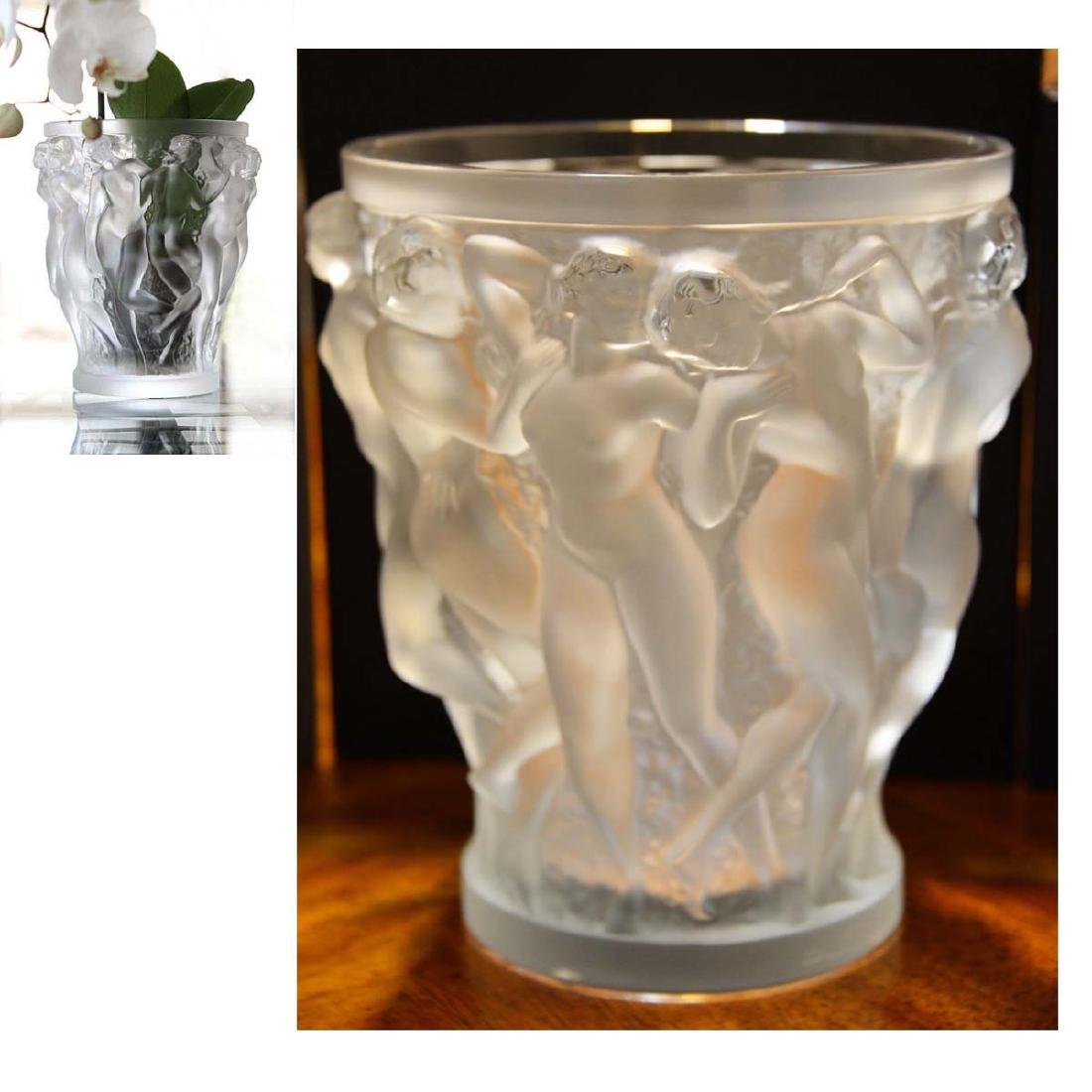 LALIQUE CRYSTAL BACCHANTES VASE DANCING FEMALE NUDES In