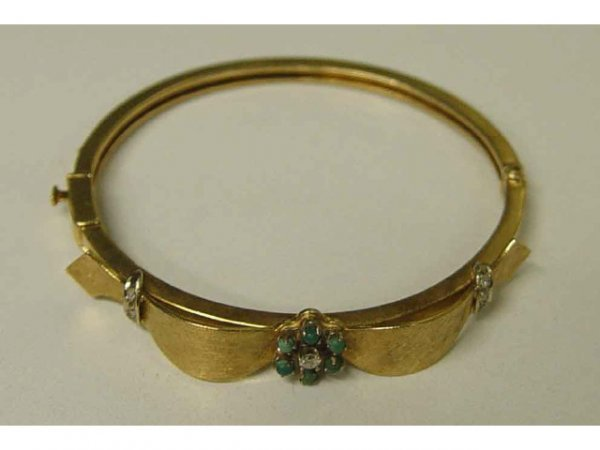 503: 14k Gold Turquoise Diamond Ribbon Bangle Bracelet
