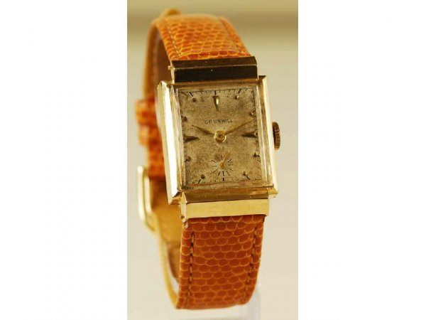 523: 14kt Gold Deco Grunwill Men's Watch