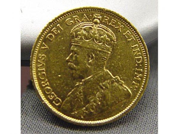 689: 1913 CANADA 5 DOLLAR GOLD $5 5d COIN